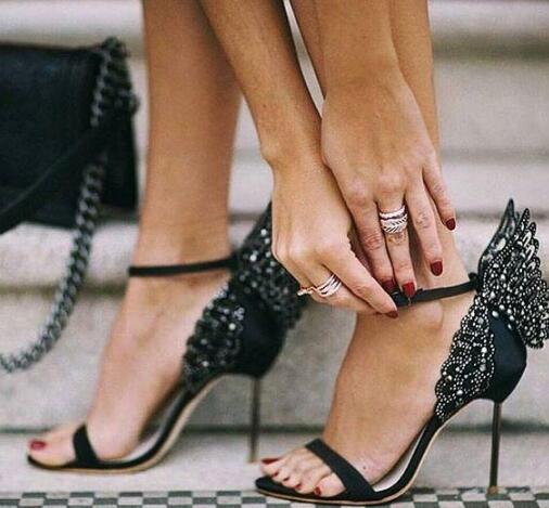 2019 Fashion Cover Heel wing Pattern in Open Toe Super High Heel Stilettos Crystal Embellished with Ankle Buckle Strap