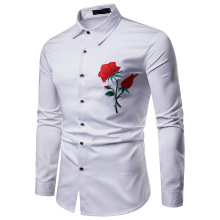 2019 Men's Luxury Tops Shirt Slim Fit Casual Dress Shirt Red Rose Flower Embroidered Floral Shirt Long Sleeve Male Shirt Eu Size купить недорого в Москве