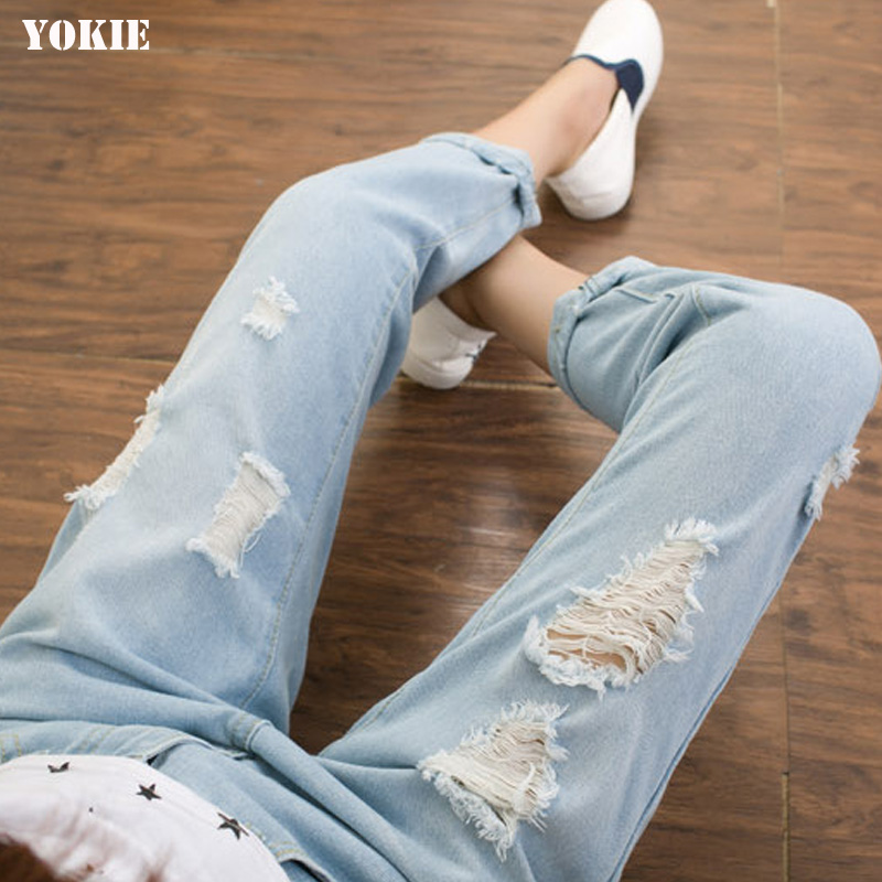 Boyfriend jeans women loose high waist Harem Denim pants ripped bleached Disressed  skinny jeans woman vaqueros mujer Plus size women high waist denim harem pants vintage style bleached pants casual ripped hole ankle length loose soft harem jeans