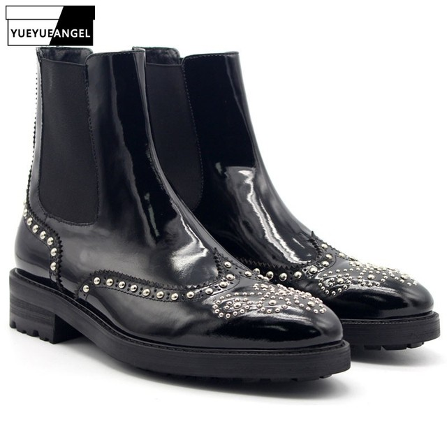Winter Mens Punk Rivet Slip On Chelsea Boots Brogue Handmade Beading Med Heels Ankle Boots Luxury Cow Real Leather Biker Shoes