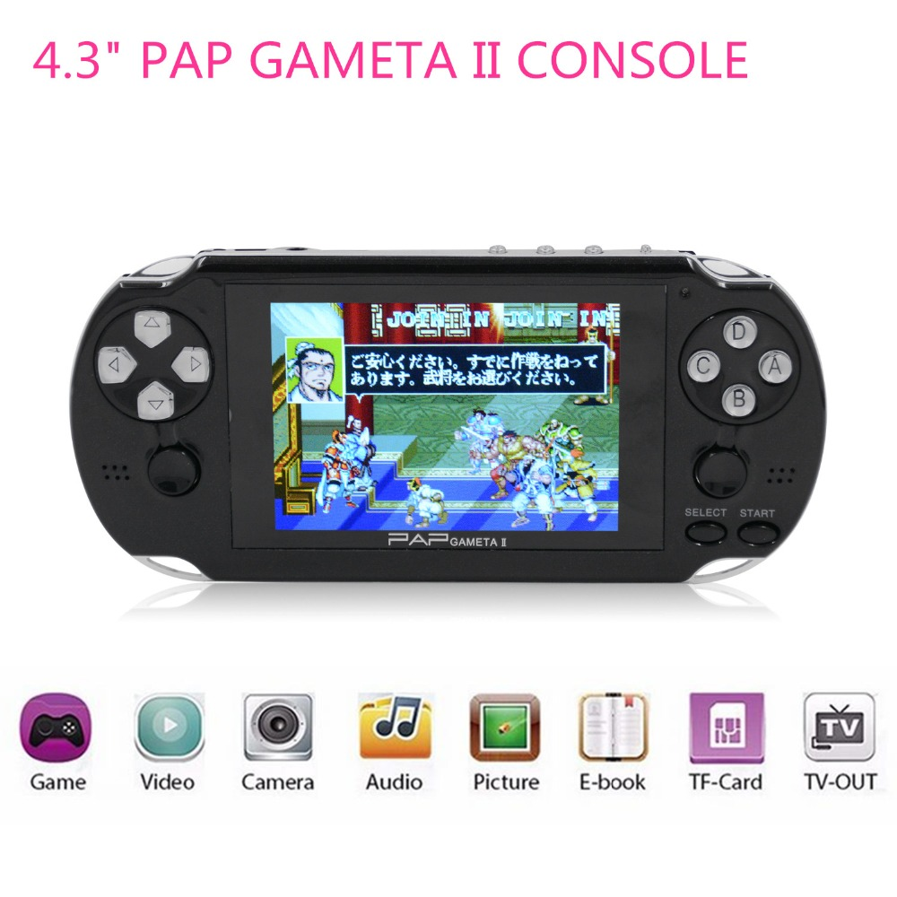 New 4.3 PAP Gameta II 64 Bit Handheld Game Console Portable Game Player with 600 Games Built in Birthday Gifts for boy kids