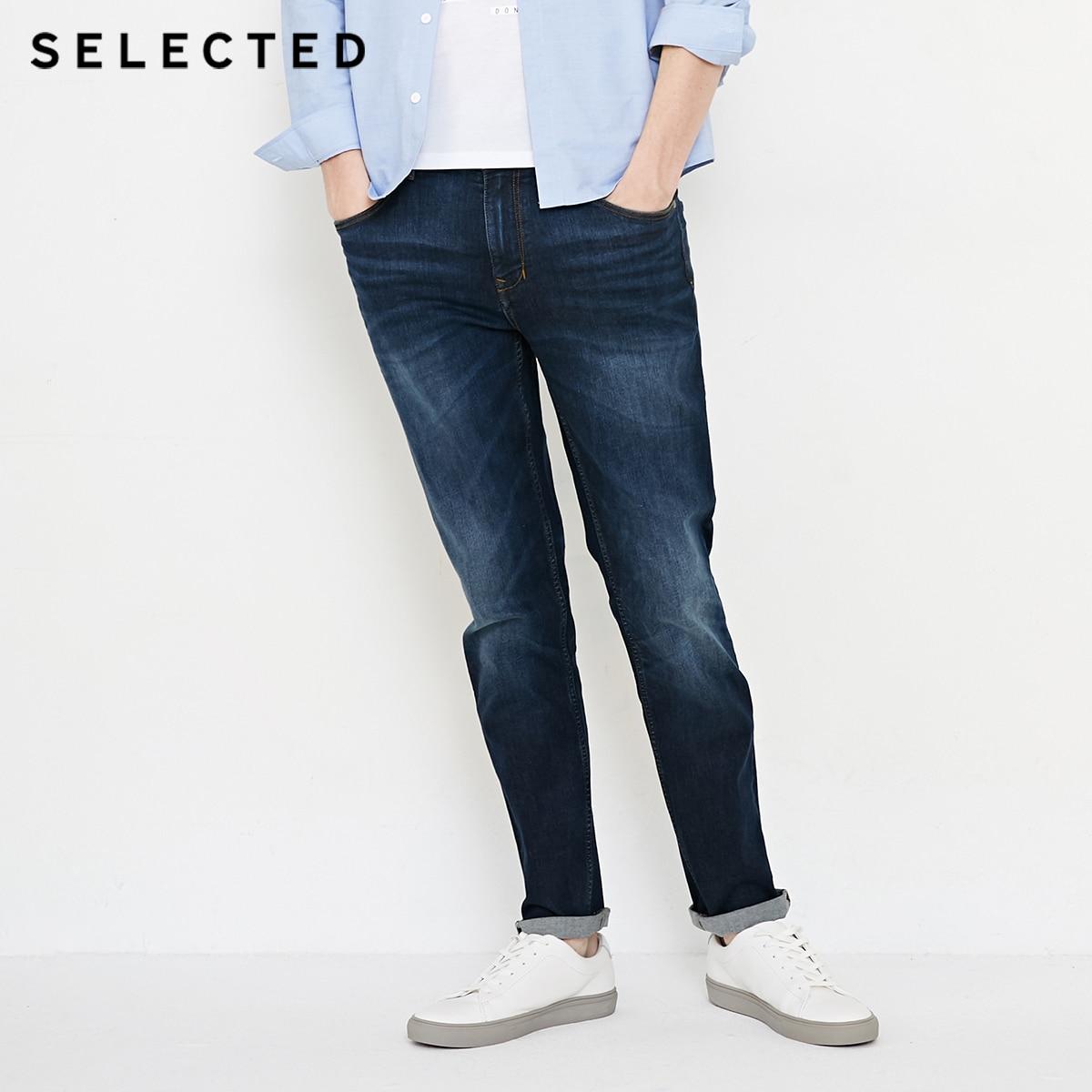 SELECTED New Elastic 3d Pleated Denim Pants Casual Men's   Jeans   C|418332510