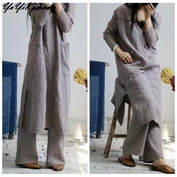 Women Cotton Linen Dress Autumn Spring