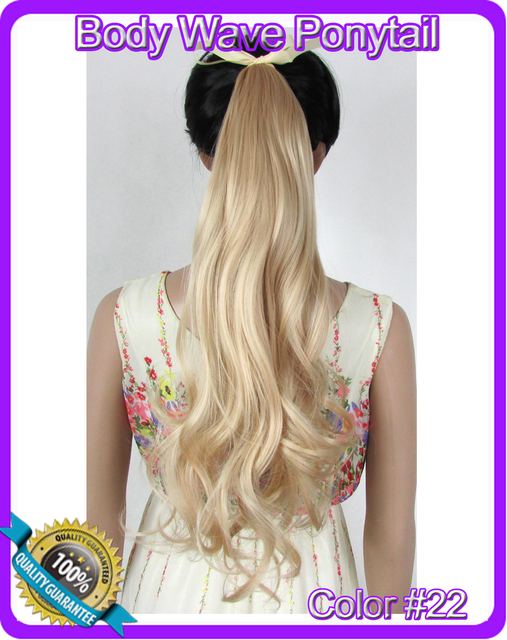 "22""(55cm) 90g body wave ribbon ponytail hairpiece hair pieces clip in hair extensions color #22 Light Honey Blonde"