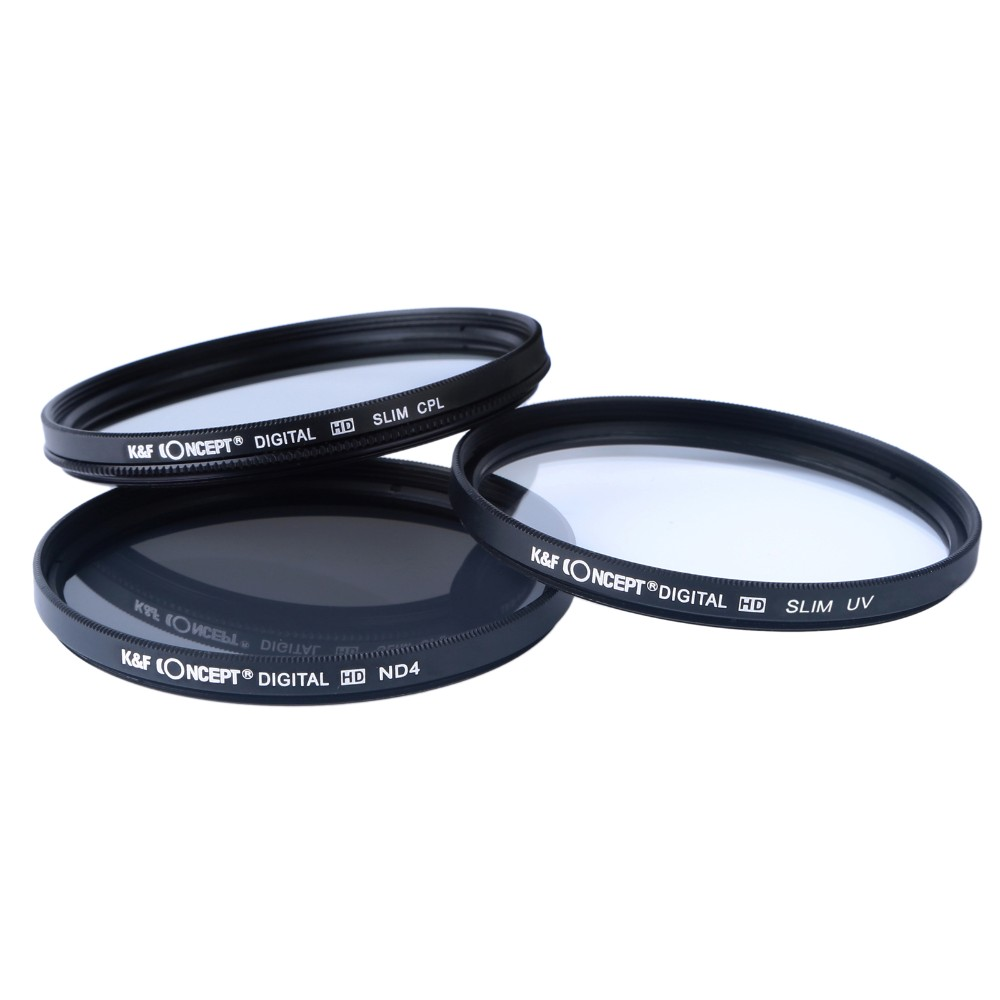 K&F CONCEPT Brand UV CPL ND4 Camera Lens Filter 52/55/58/62/67/72/77mm Cleaning Cloth+Filter Pouch For Nikon Canon DSLR Camera 12
