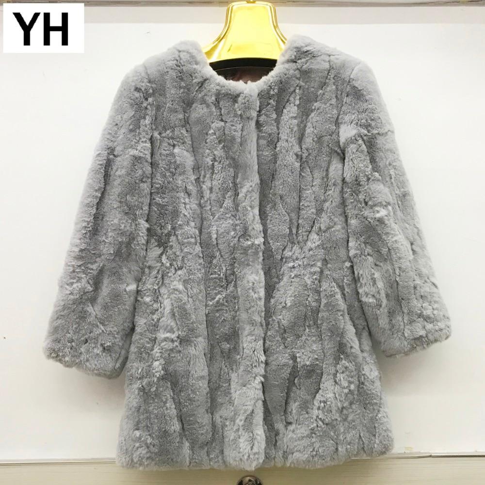 Style Rex Manteau pink New khaki Hiver black Long De Réel Femmes Veste Hot Automne Chaud Fourrure Grey Lapin Dames Xw0Ow4qx