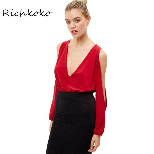 da710c1b6ae2 Richkoko Red Bodysuits Women Sexy Deep V-neck Hollow Out Off Shoulder  Jumpsuits Ladies Brief