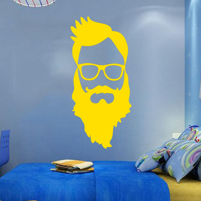 Hot Sale Barber Wall Sticker Vinyl Decal I Love Beards Face ...