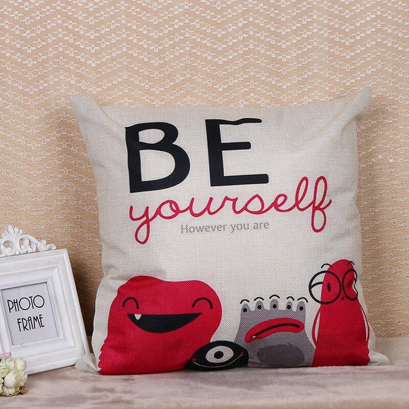 DIY Creative Flax Goblin Pillow Case Pillowcase Car Bedroom Sofa Decoration Cushion Cover Home Decor Textile Arts Crafts F