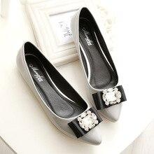 Women Elegant Sexy Basic Flats Boat Shoes Ladies Patent Leather Slip-on Woman Plus Size Party Wedding Luxury Crystal Shine Style