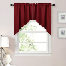 Blackout Christmas Rod Pocket Kitchen Tier Curtains Tailored Scalloped Valance Swags For Living Room