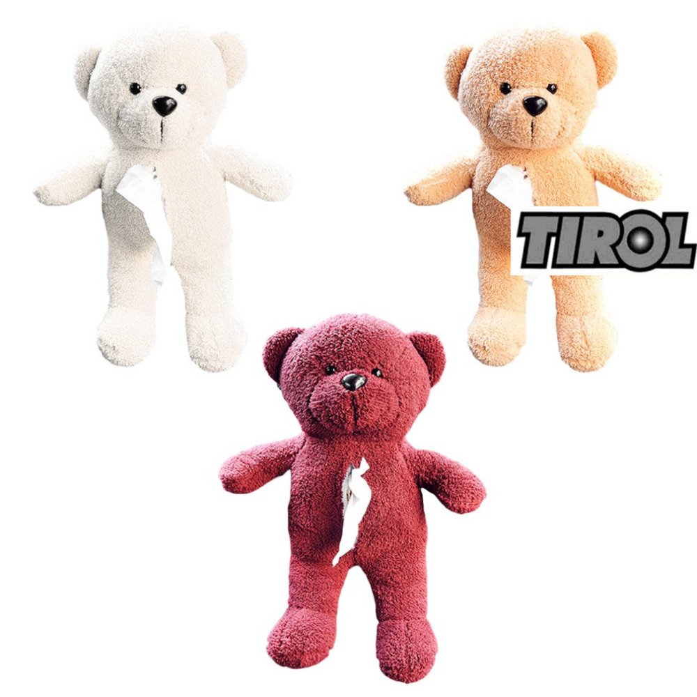 Tirol Car Back Seat Hanging Tissue Bag Plush Doll Teddy Bear Shape Hanging Bag for Easy Extract Paper Towel Car-styling Accessor