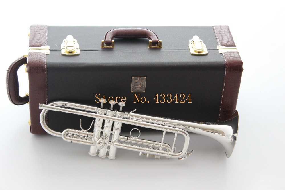 Taiwan Bach Double silver-plated AB190S Bb Artisan Collection  trumpet HARD LEATHER case Top musical instruments Brass bugle silver plated double french horn f bb 4 key brand new with case