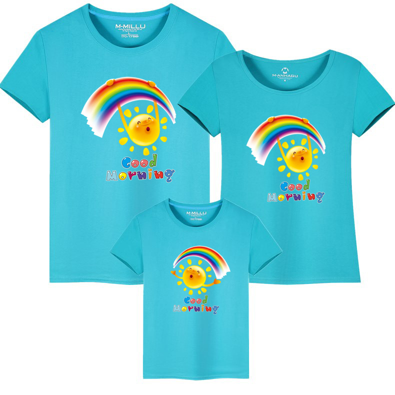 Summer Family Matching Outfits T shirt Mom Dad Son Daughter Rainbow T Shirts Family Mother Father Kids Matching outfits Tees (2)