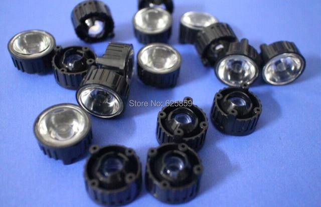 10 шт. 25.20.15.10.8.5 градусов светодио дный объектив для 1 Вт 3 Вт 5 Вт высокое Мощность светодио дный с винт 20 мм черный держатель