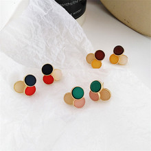 Delicate metal earrings geometric fashion beautiful and colorful color matching Wholesale jewelry