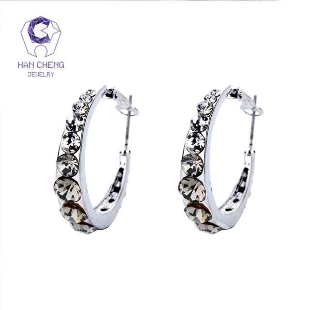 HanCheng New Fashion Charm Big Silver Plated Round Circle Gem Stone Rhinestone Hoop Earrings For Women Jewelry brincos bijoux
