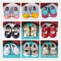 2016 лето новый дизайн детские девушки Мэри Джейн обувь сторона лук Натуральной Кожи обувь Впервые Ходунки Малышей новорожденный ребенок мокасины