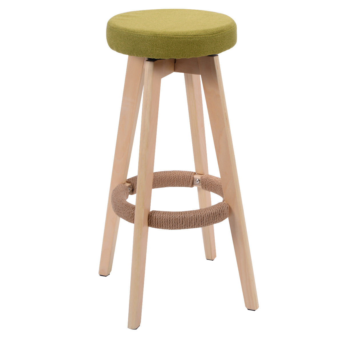 Giantex 29-Inch Round Wood Bar Stool Modern Dining Chair Counter Height Linen Seat Green Bar Chairs Home Furniture HW52977GR bar stool breakfast kitchen bistro cafe vintage wood dining chairs modern bar chair dropshipping