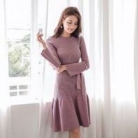 Elegant Autumn Winter Women Knitted Sweater Dress Lace Up O neck Ruffles Knitted Dress 2018 Knee length Beading Vestidos 2018