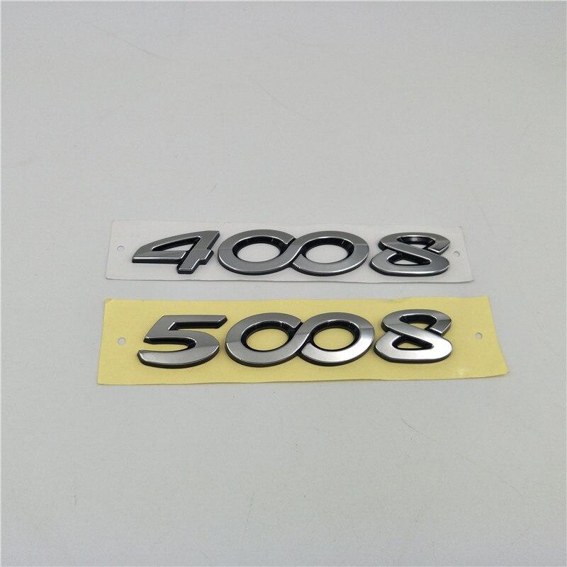 For Peugeot 4008 / 5008 Logo Badge Rear Trunk Emblem Decals Decoration Stickers