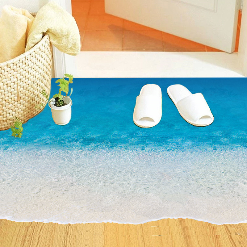 Newest Blue Sea Beach Sandy Beach Ocean World View Creative Floor Decoration Home Decal Wall Sticker Removable Bathroom Washroom