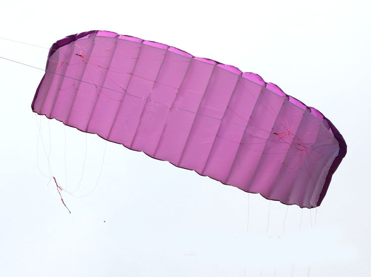 New High Quality 5 square meters Quad Line Parafoil Kite With Flying Tools  Power Braid Sailing Kitesurf Purple Sports Beach 2 5m huge dual line control soft frameless stunt parafoil flying kite plaid cloth made with 2 line board and 2 x 40m line
