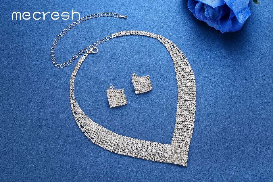 V-Shaped Clear Rhinestone Collar Necklace and Earring Set