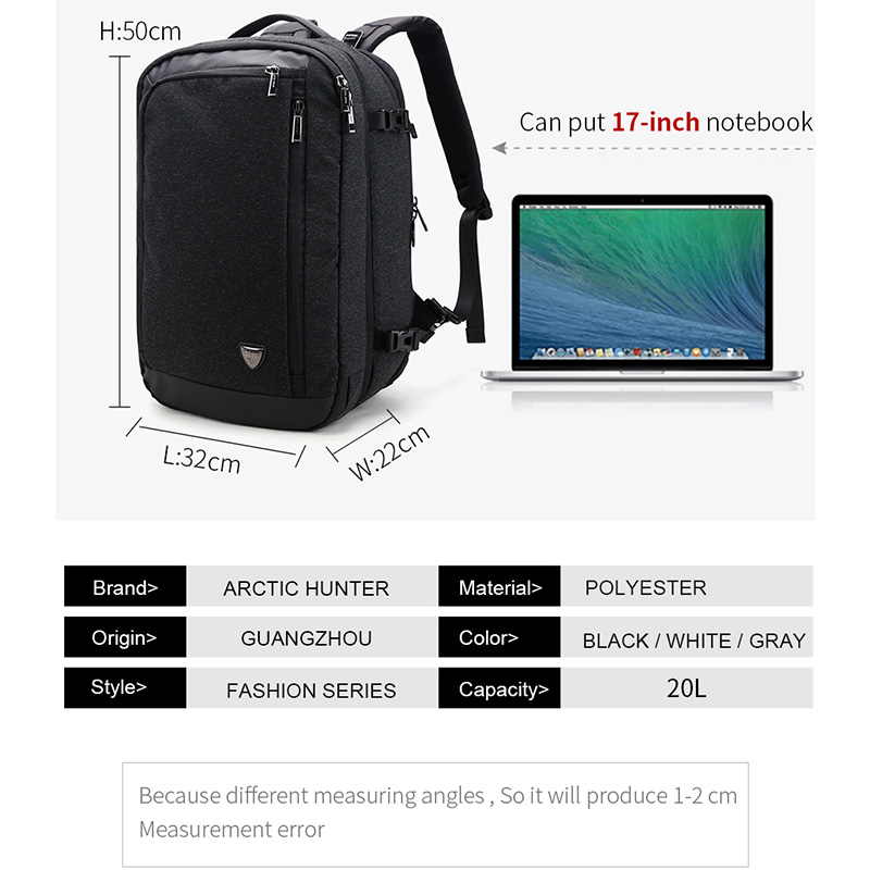 Image 4 - ARCTIC HUNTER Multifunction 17 inch Laptop Backpacks For Teenage Men Travel Backpack Bag Large Capacity Casual Vintage 2018 New-in Backpacks from Luggage & Bags
