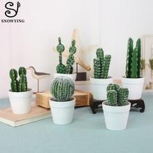 Nordic Artificial Cactus Plant DIY Home Decoration Fake Potted Office Garden Balcony Wedding Decor Succulents Flower