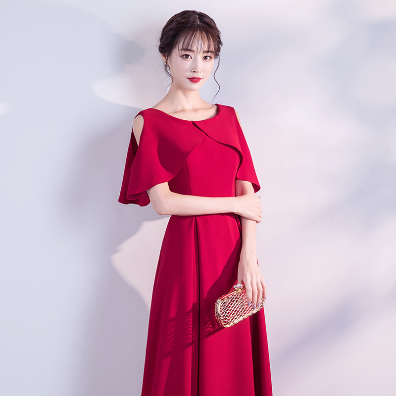 484844c7b73d Elegant Burgundy Long Evening Dress Simple Short sleeve Hollow Out Ruffle  Evening Party Dress Plus Size Red Formal Gowns 2019-in Evening Dresses from  ...
