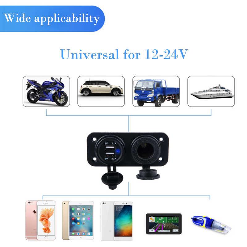 12-24V Car Cigarette Lighter Socket With LED 5V 4.2A Dual Socket USB Adapter Charger With Car Cigarette Light for Universal Car