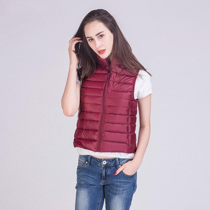 [Aiweier] Spring Autumn Winter Jacket Women Lightweight   Down   Jackets Short Vest Zipper Slim Korean Style   Down     Coats   For Female
