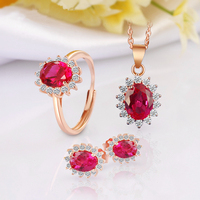 Female Jewelry Set Classic Princess Kate Style Ring Necklace Pendant Rose Gold Color Gems Stud Earrings Wedding Party Bridal Set