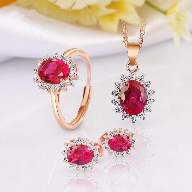 Couleur rouge gemmes boucles d'oreilles pendentif bague ensemble de bijoux pour la mariée à la fête de mariage princesse Kate même Style ensemble de bijoux en argent Sterling