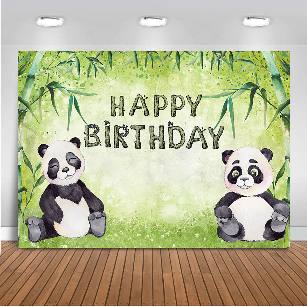 Neoback Panda theme backdrop for photography happy birthday party decoration banner safari jungle background for photo 462