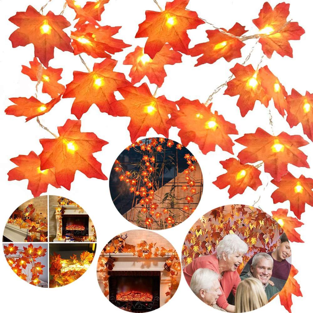 BTgeuse Maple Leaf Decorative Lights 1m 3m Garden Garland For The Holiday Party Christmas Tree New Year's Home Decoration