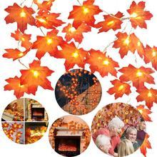 дешево!  BTgeuse кленовый лист декоративные фонари 1 м 3 м садовая гирлянда для праздника новогодняя елка