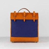 Япония Стиль Ручной Работы Дизайнера унисекс Для мужчин Для женщин рюкзак из натуральной кожи растительного дубления кожи Обувь для девоче