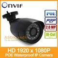 POE 1920x1080 P 2-МЕГАПИКСЕЛЬНАЯ Водонепроницаемый Пуля Ip-камера 24LED Открытый Камеры ВИДЕОНАБЛЮДЕНИЯ ONVIF Ночного Видения P2P IP Камеры Безопасности с Ик-