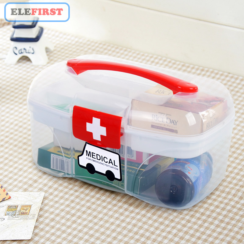 Portable Home Medical First Aid Box Emergency Kits Case PP Empty Medicine Bandages Storage Box For Car Home Travel Outdoor Camp