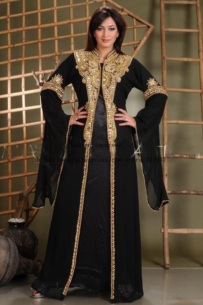Elegant Long Sleeves Floor Length Beads Black Gold Dubai -2145