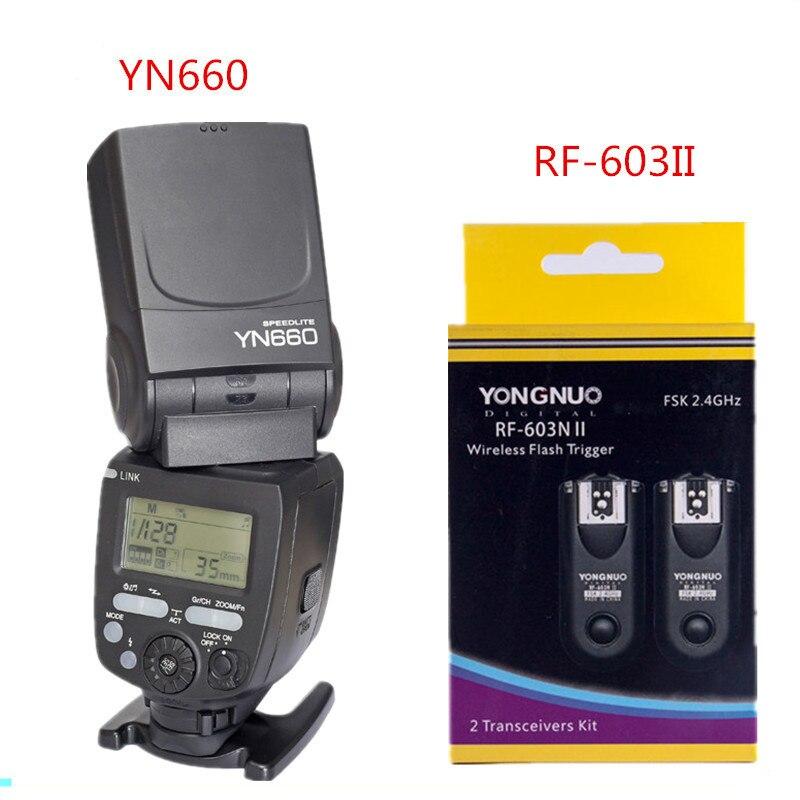 YONGNUO YN660 2.4G Master Slave Flash Speedlite + YongNuo RF-603II Manual Flash Trigger For Canon Nikon DSLR Cameras стоимость