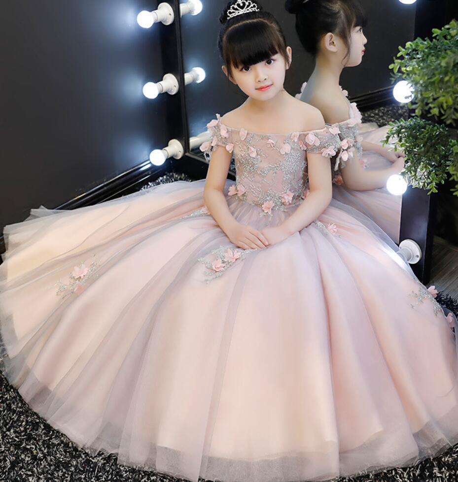 Elegant Pink Tulle Flower Girl Dress Appliques Party Kids Pageant Gown Shoulderless Princess Wedding Dress First Communion Dress girl