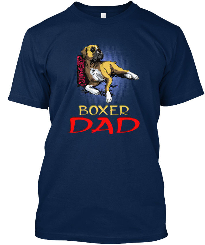 Print T-Shirt Mens Short Dog Boxer Breed Dad - Standard Unisex T-Shirt O-Neck Hipster Tshirts