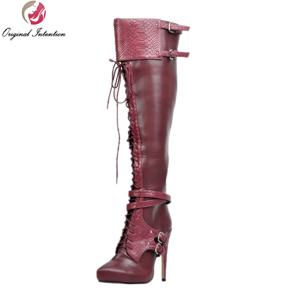Original Intention Stylish Women Knee High Boots Nice Pointed Toe Thin Heels Boots Cool Wine Red Shoes Woman US Size 4-15 customizable fashion women knee high boots sexy pointed toe thin heels leopard boots shoes woman plus size 4 15