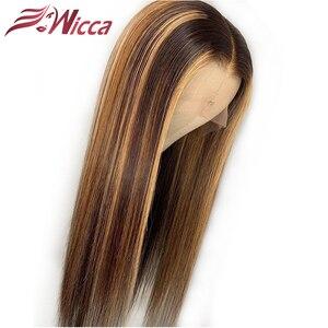 يكا تسليط الضوء 13x6 الدانتيل الجبهة الإنسان خصلات الشعر المستعار مع شعر الطفل 8-24 بوصة البرازيلي شعر ريمي ابيض عقدة