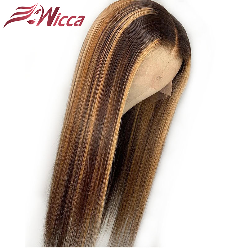 Wicca Highlight 13x6 Lace Front Human Hair Wigs With Baby Hair 8-24 Inches Brazilian Remy Hair Bleached Knots