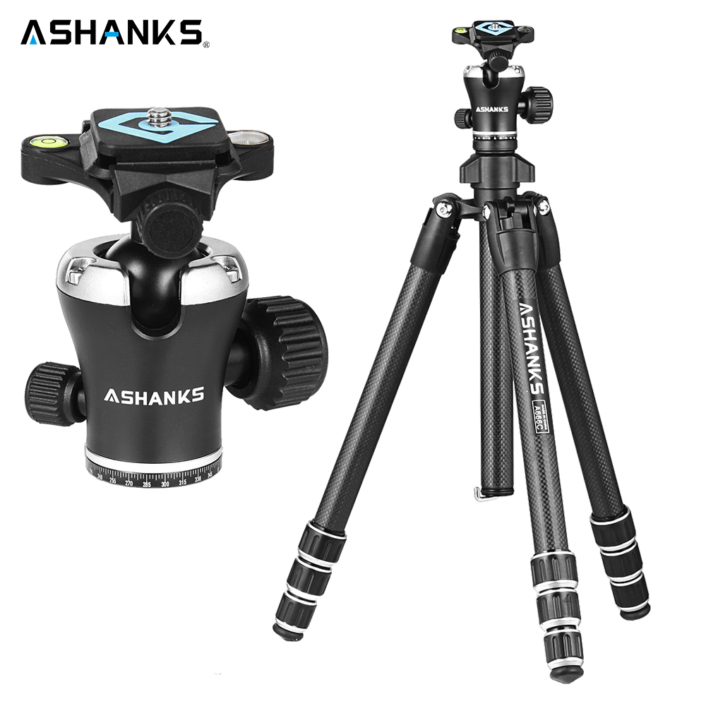ASHANKS A666C Carbon Camera Tripod 8KG 55.1''/140cm Professional Video Tripod with Dslr VIDEO Tripod Ball Head for Photography ashanks professional aluminum camera tripod mini portable monopod with ball head for dslr photography video studio load 10kg