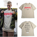 Vfiles Justin Bieber Fear Of God Purpose Tour T Shirt Men/Women My Mama Dont Like You Letter Printed Tops Tee Hip Hop Streetwear